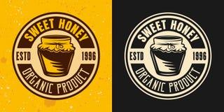 Zoete honing twee gekleurd stijlen vector rond embleem royalty-vrije illustratie