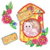 Zoete huis piggy die illustratie op witte achtergrond wordt geïsoleerd royalty-vrije illustratie