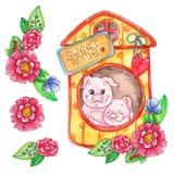 Zoete huis piggy die illustratie op witte achtergrond wordt geïsoleerd stock illustratie