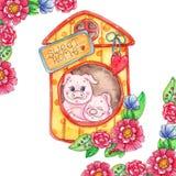 Zoete huis piggy illustratie vector illustratie