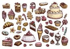 Zoete inzameling van gekleurde tekeningen in uitstekende stijl De vectorillustraties van banketbakkerijproducten Royalty-vrije Stock Afbeeldingen