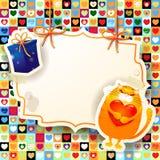 Zoete kat en gift, douaneachtergrond Royalty-vrije Stock Afbeelding