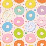 Zoete kleurrijke donuts vector naadloze achtergrond Stock Foto's