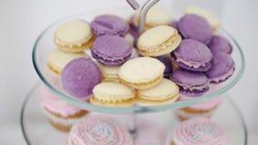 Zoete kleurrijke macarons klem Kleurrijke die Amandelkoekjes prachtig in een vaas voor snoepjes op witte achtergrond worden verfr stock video