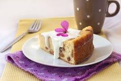 Zoete kwarkpudding met rozijnen Stock Foto