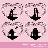 Zoete liefde in hartkader Stock Foto