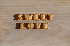 Zoete liefde Hoop van eetbare brieven Stock Foto's