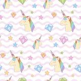 Zoete magische eenhoorn, diamant, ster op golfachtergrond stock illustratie