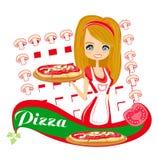 Zoete meisjes dienende pizza Royalty-vrije Stock Foto's