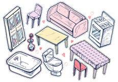 Zoete meisjesachtige meubilairreeks Royalty-vrije Stock Afbeeldingen