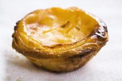 Zoete onderbrekings Portugese dessert pastel del nata dichte omhooggaande macro Stock Afbeelding