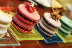 Zoete op smaak gebrachte Franse macarons Stock Foto