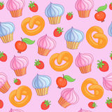Zoete patrooncakes op roze achtergrond naadloos Stock Fotografie