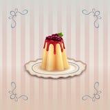 Zoete pudding met bessen op uitstekende plaat Royalty-vrije Stock Foto's