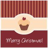 Zoete retro Kerstmiskaart met muffin cupcake Stock Fotografie