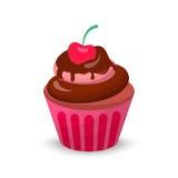 Zoete romige cupcake vastgestelde vectorillustratie van de voedselchocolade Stock Afbeelding