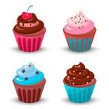 Zoete romige cupcake vastgestelde vectorillustratie van de voedselchocolade Stock Fotografie