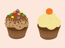 Zoete romige cupcakeillustratie van de voedselchocolade vector illustratie