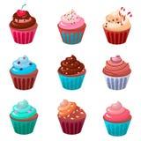Zoete romige cupcakereeks geïsoleerde vectorillustratie van de voedselchocolade Stock Fotografie