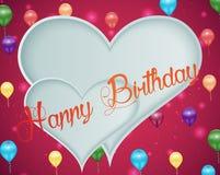 Zoete roze achtergrond met kleurrijk ballons en document hart vector illustratie