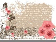 Zoete roze rozen en uitstekend gedicht Stock Foto's