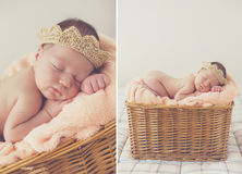 Zoete slaap pasgeboren baby in rieten mand-collage royalty-vrije stock afbeelding