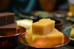 Zoete Sojaboonzachte toffee, Chinese delicatessen, Aziatisch voedsel, dessert royalty-vrije stock afbeelding
