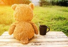 Zoete Teddybeer met kop van koffie stock afbeelding