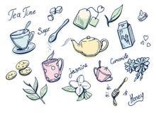 Zoete thee verwante krabbeltekeningen Stock Afbeeldingen