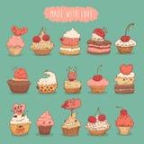 Zoete Vastgestelde Getrokken de Illustratie Retro Hand van Cupcakes Stock Foto's