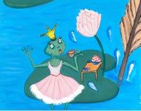 Zoete verbaasde prinses Frog in roze kleding het Drinken Thee op Lotus Leaf royalty-vrije illustratie