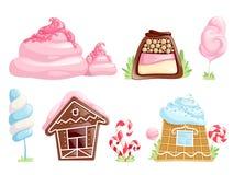 Zoete voorwerpen De elementen van de het suikergoedfantasie van de karamelchocolade voor de desserts vectorinzameling van het spe vector illustratie