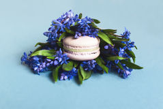 Zoete zachte makarons met bloemen stock fotografie