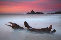 Zoete zonsondergang op Saturraran-strand Royalty-vrije Stock Foto