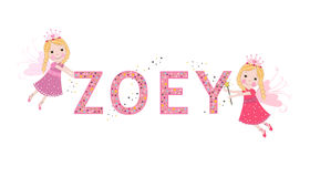 Zoey female name with cute fairy Stock Images