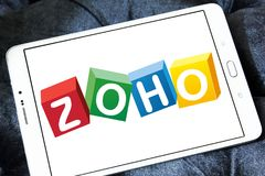 Zoho Corporation logo. Logo of Zoho Corporation on samsung tablet. Zoho Corporation is an information technology and business management software as a service Stock Photo