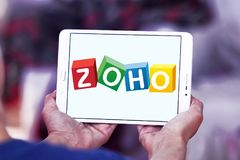 Zoho Corporation logo. Logo of Zoho Corporation on samsung tablet. Zoho Corporation is an information technology and business management software as a service Stock Photography