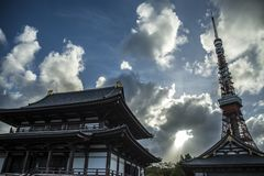 Zoji-Ji Tempel Tokyo stockbilder