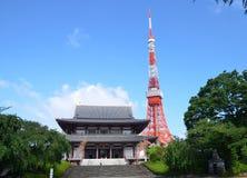 Zojo籍寺庙看法和东京耸立,东京,日本 免版税图库摄影