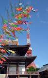 Zojo籍寺庙看法和东京耸立,东京,日本 库存照片