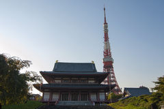 Zojo-Ji Temple Tokyo. Zojo-Ji Temple and Tokyo TV tower.Zojoji Temple is the chief temple of the Jodo-Buddist sect Royalty Free Stock Photos