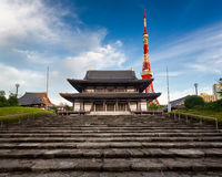 Zojo-ji Temple and Tokyo Tower in the Morning, Tokyo Royalty Free Stock Photography