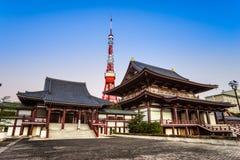 Zojo.ji Temple and tokyo Tower, Tokyo, Japan. Stock Images