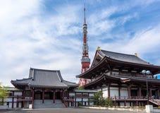 Zojoji tempel och tokyo torn Japan arkivfoto