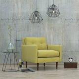 Zolder binnenlandse ruimte met 3D lampen en gele bank, Stock Fotografie