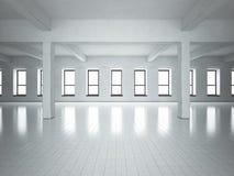 Zolder ruimte grijze muren Vensters Royalty-vrije Stock Afbeeldingen