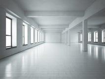 Zolder ruimte wit beton Stock Afbeeldingen