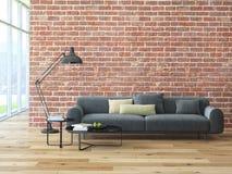 Zolderbinnenland met bakstenen muur en koffietafel Stock Afbeelding