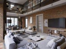 Zolderflat met bakstenen muurï ith modern meubilair ¿ ½ royalty-vrije illustratie