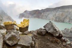 Zolfo dal cratere di Ijen Fotografia Stock Libera da Diritti